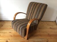 Circa 1930s Art Deco Club Armchair with Bentwood Arms Retro Fabric