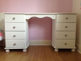White painted six-drawer dressing table with white and purple drawer handles