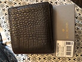 Genuine Mulberry 8 Card Coin Wallet Chocolate Crocodile Print
