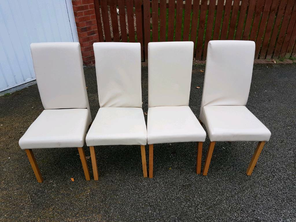 4 Faux Leather Cream Dining Chairs FREE DELIVERY 789