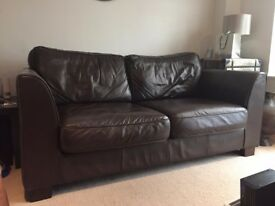 Leather dark brown 2 seater sofa