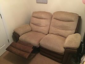 2x Brown Fabric Recliner Sofas
