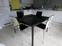 Glass top Kitchen/dining table and 4 chairs