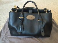 Genuine Mulberry Bayswater double zip bag - black with receipt