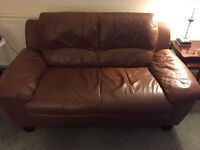 Two two seater brown leather sofa's for sale. Excellent condition