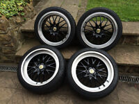 """18"""" CADES DEEP DISH STAGGERED ALLOY WHEELS WITH DUNLOP TYRES PCD 5X112 AUDI MERCEDES VW SKODA SEAT"""