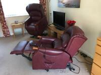 Leather 2 Seater Sofa & 2 Leather Tilt/Lift Recliners