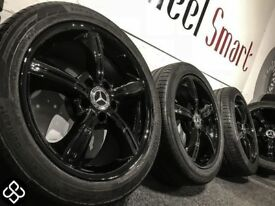 "GENUINE MERCEDES SLK/CLC 17""ALLOY WHEELS & CONTINENTAL TYRES - 5 X 112 - CRYSTAL BLACK- Wheel Smart"