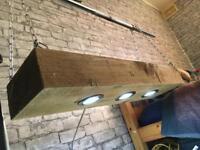 Retro railway sleeper led light fitting