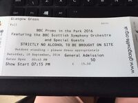 2 x General admission - BBC Proms in the park 2016 (Glasgow Green) - 10th September