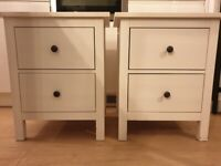 SOLD - 2 Ikea Hemnes Solid Wood Bedside Tables - White Stain Colour - Collection Only