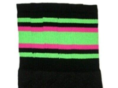 "25"" KNEE HIGH BLACK tube socks with NEON GREEN/HOT PINK stripes style 4 (25-59)  - Neon Pink Knee High Socks"