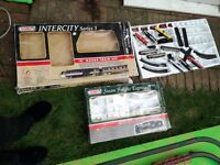 Complete train set N Guage Trainset Battery operated Loads of track & Trains Mounted on 8x4 Plywood