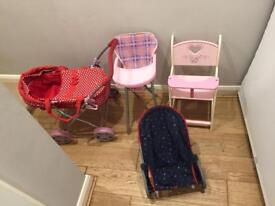 Dolls pram, two high chairs and bouncer
