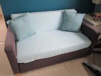 Ikea Solsta / Ullvi Navy Blue Sofa Bed & Throw & Cushions