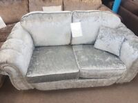 Brand new silver crushed velvet 3 and 2 seater settees