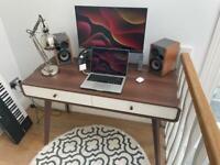 Danish design wooden desk / table - white/oak effect
