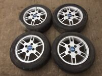 """For sale - Ford Ka / fiesta 14"""" alloy wheels - excellent tyres"""