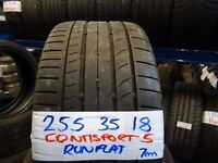 SET OF 4 MATCHING 255 35 18 CONTISPORT5s 6mm TREAD £80 PAIRSUPP & FITTED open 31st december till 5pm