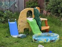 Little Tikes Jungle Climber and a blue slide