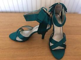 Teal strap heels
