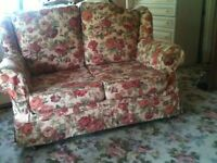 chintz red and plum floral roses loose covers two seater sofa