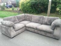 GREY JUMBO CORD CORNER SOFA 🚚DELIVERY AVAILABLE 🚚