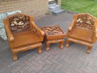 Hand Carved Chairs and table - Solid and Very heavy Asia Water Buffalo Unique Hand Made