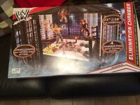 New Unopened WWE Elimination Chamber and Big Talker Microphone. Ringside Battle Playset and Figures