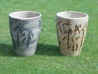 two tall plant pots for sale