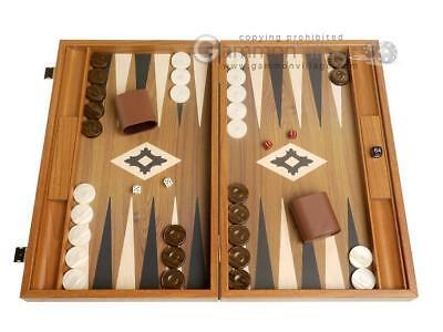 - 19-inch Wood Backgammon Set - Walnut Board with Printed Field and Side Racks