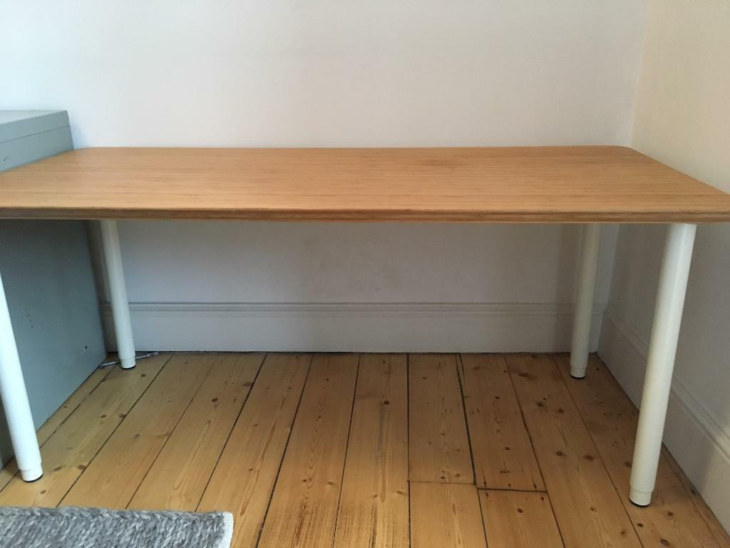 Ikea Desk Hilver Bamboo Table Top Amp Olov Adjustable Legs