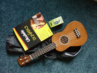 TIGER BRAND UKULELE WITH CARRIER CASE, TUNER AND ACCOMPANYING BOOK