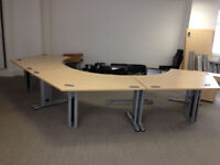office joining triangle desk triangle shape can make pod 120 degree