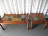 PAIR OF WORLDSPAN MATCHING TILE TOP TABLES COFFEE TABLE AND MATCHING SIDE TABLE FREE DELIVERY