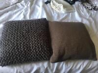 FREE - two brown throw pillows