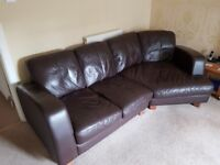 A real leather 4 seater sofa, armchair and footstool for sale