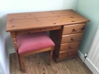 Pine Dressing Table and Matching Stool