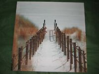 Bamboo Pathway to the Beach on Canvas - Painting with Real Bamboo included in the Picture