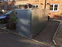 Motorcycle Storage Shed Box rust proof galvanised steel. Secure weather proof motorbike shed storage