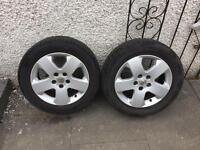 2 Vectra 5 stud alloys with legal tyres.