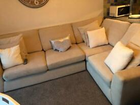 Cream L shaped sofa