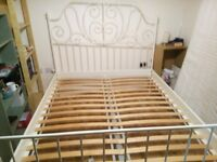 King Size Ikea Leirvik bed frame, dismantled for transport, and mattress