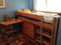 Pine Wooden Bed Set - includes the drawers, desk and book shelf