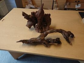 2x used vivarium / fish tank pieces of wood