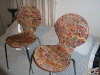 2 x retro 1980s Comic book Chairs