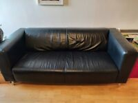 Sofa Ikea Klippan Black Leather