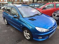 2004/04 PEUGEOT 206 SW 1.6 XSI ESTATE,METALLIC BLUE,GREAT CONDITION,LOOKS AND DRIVES WELL,