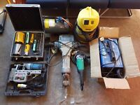 Tools, Magnetic Drill, Saw, Braker, Mixer, Compressor, Transformer, Tile Cutter, Van Chest, Sale