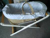 Mothercare Moses basket, folding wooden stand, 9 fitted sheets and 2 non fitted sheets